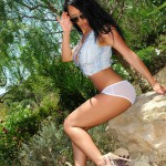 Bobbi Marie – Denim Shorts And White Panties - 3