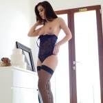 Chloe Bodimeade – Black Bodysuit With Cute Stockings - 12