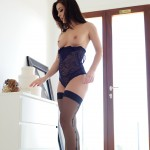 Chloe Bodimeade – Black Bodysuit With Cute Stockings - 13