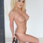Dannie Aston Strips Nude From Little Cute Pink Lingerie - 22