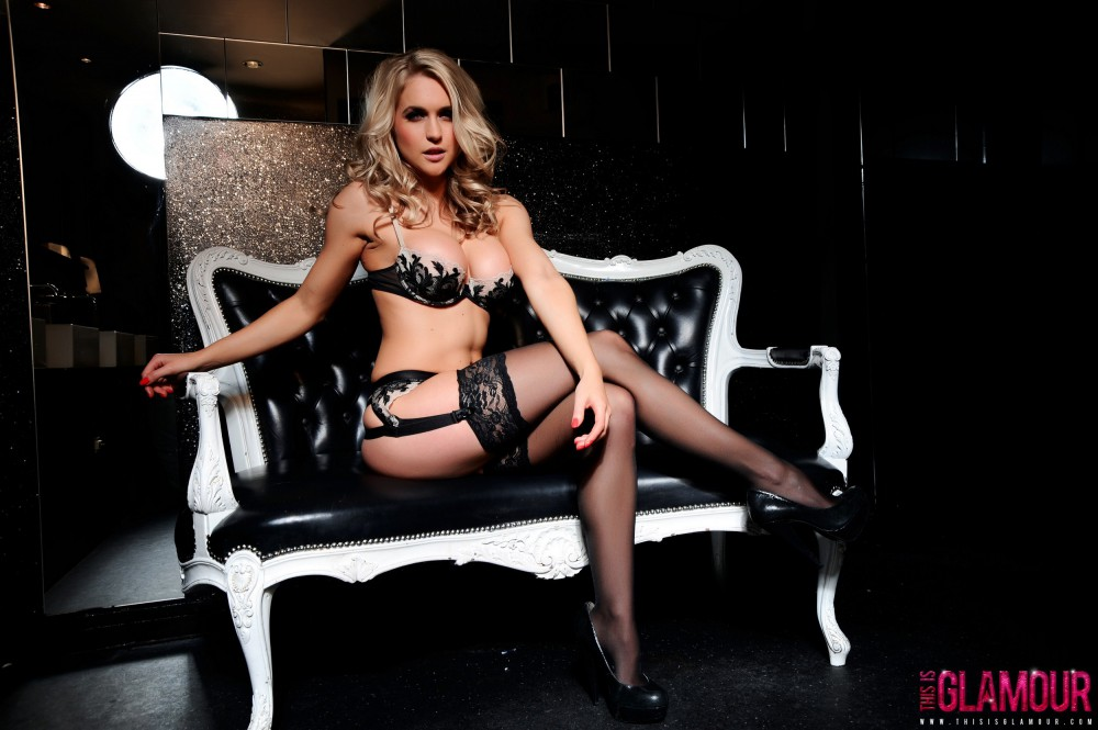 Kayleigh P – Black Lingerie And Stockings