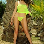 Kirsty Corner – Seethru Green Dress And Green G-string - 10