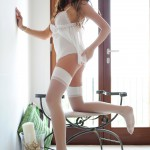 Liberty Parisse – White Teddy With Stockings - 7
