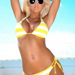 Madison Nicol Strips Nude From Yellow And White Bikini - 4