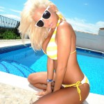 Madison Nicol Strips Nude From Yellow And White Bikini - 8