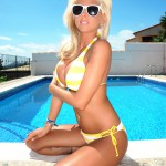 Madison Nicol Strips Nude From Yellow And White Bikini - 9