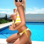 Madison Nicol Strips Nude From Yellow And White Bikini - 16