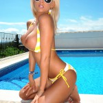 Madison Nicol Strips Nude From Yellow And White Bikini - 18