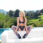 Candice Collyer – Purple Lingerie And Stockings - 2