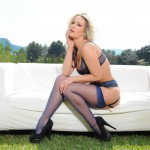 Candice Collyer – Purple Lingerie And Stockings - 6