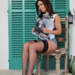Flame Emmin – Cute Top With Tight Denim Shorts And Fishnet Stockings - 3