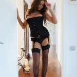 Liberty Parisse – Black Corset Panties And Stockings - 0