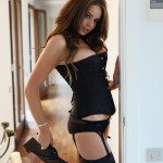 Liberty Parisse – Black Corset Panties And Stockings - 2