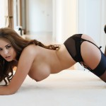 Liberty Parisse – Black Corset Panties And Stockings - 17