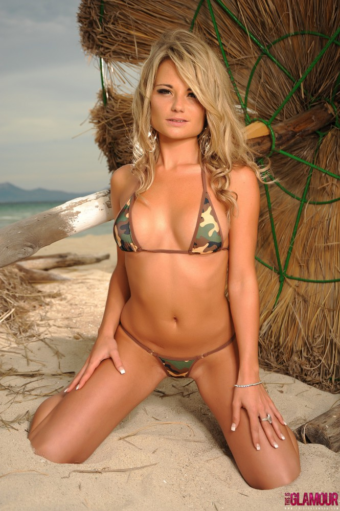 Michelle Cole – Army Bikini At The Beach