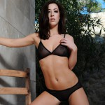 Chloe Bodimeade – Black See Thru Lingerie And Trainers - 7