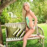 Natalie Fox Stripping Nude From Her Green Swimwear - 3