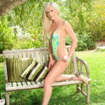 Natalie Fox Stripping Nude From Her Green Swimwear - 4