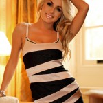 Becky Roberts – Striped Skirt And Black Thong - 1