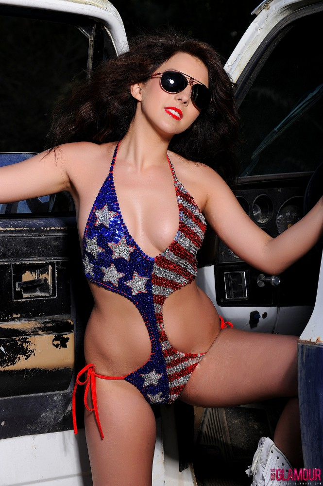 Leila White Stripping Out Of Her Usa Swim Wear On The Truck