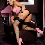 Syren Sexton – Pink Lingerie And Stockings - 3