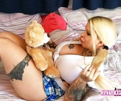 Aviva Rocks – Girl with hugh titts playing with a teddy-bear