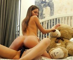 Lesbian college roommates strapon dildo sex with teddy bear