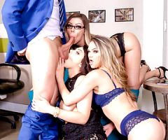 LETSDOEIT – Dirty Foursome Sex with Horny Secretaries & Boss