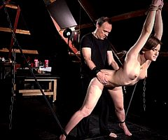 Master fucks immobilized sex slave in doggy-syle position!