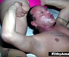 Orgy with two chubby wives who love anal and cum