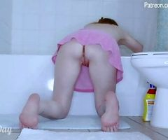 Solo milf upskirt cleaning shower