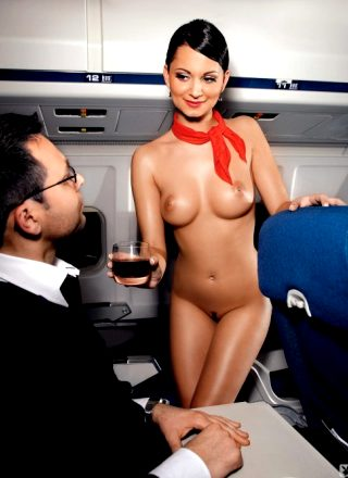 Andreja Karba Naked Air Stewardess Stripping Out Of Her Uniform On An Airplane For Playboy