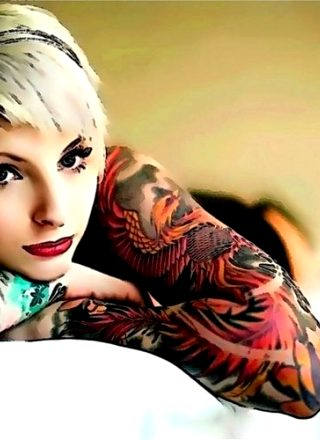 Blonde With Short Hair And Ink Sleeves; Nice Wallpaper