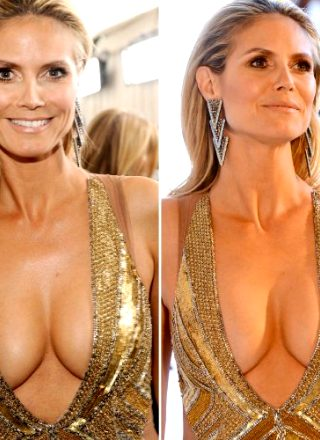 Heidi Klum Shows Off Sexy Cleavage