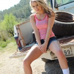 Candice Collyer – Denim Top White Thong And Little Socks - 0