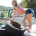 Candice Collyer – Denim Top White Thong And Little Socks - 3