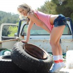 Candice Collyer – Denim Top White Thong And Little Socks - 4