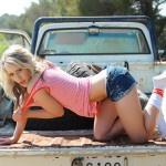 Candice Collyer – Denim Top White Thong And Little Socks - 6