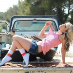 Candice Collyer – Denim Top White Thong And Little Socks - 11