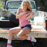 Candice Collyer – Denim Top White Thong And Little Socks - 12