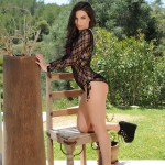 Aime Middleton – Black Bodysuit With Pink Lingerie - 0