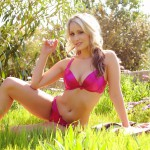 Candice Collyer – Stripping From Red Lingerie In The Garden - 1