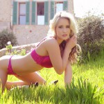 Candice Collyer – Stripping From Red Lingerie In The Garden - 7