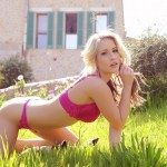 Candice Collyer – Stripping From Red Lingerie In The Garden - 8