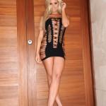Cara Brett – Little Tight Black Dress With No Panties - 3