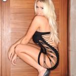 Cara Brett – Little Tight Black Dress With No Panties - 6