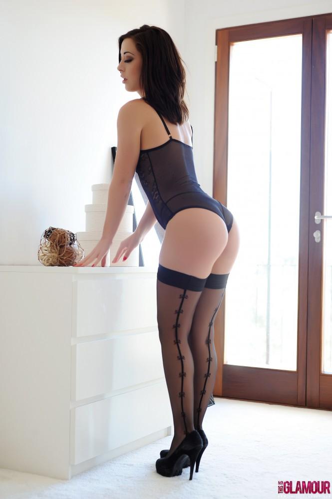 Chloe Bodimeade – Black Bodysuit With Cute Stockings