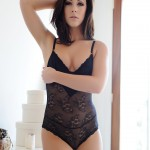 Chloe Bodimeade – Black Bodysuit With Cute Stockings - 1