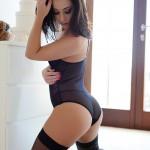 Chloe Bodimeade – Black Bodysuit With Cute Stockings - 5