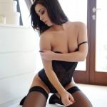 Chloe Bodimeade – Black Bodysuit With Cute Stockings - 10